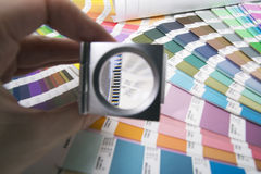 Lens and pantone. Design and prepress concept Stock Photo