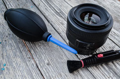 Lens , pear, brush , in- tended for cleaning Stock Photos