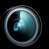 Camera lens. Lens of the photo on black background Royalty Free Stock Image
