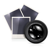 Lens with photo frame  Royalty Free Stock Images