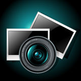 Lens with photo frames Stock Photos