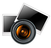 Lens with photo frames Royalty Free Stock Photo