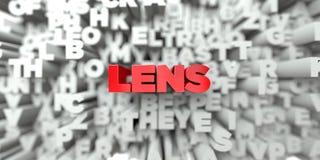 LENS - Röd text på typografibakgrund - 3D framförde fri materielbild för royalty Royaltyfri Bild