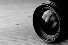 Lens reflection black and white photo Stock Image