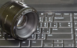Lens rest in computer pad Royalty Free Stock Photography