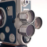 Lens turret of vintage 8mm movie camera Royalty Free Stock Photo