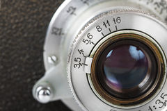 Lens van oude camera Stock Foto's