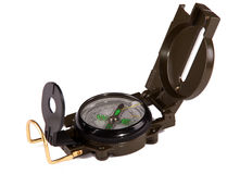 Lensatic compass. Military style compass against white background Royalty Free Stock Photography
