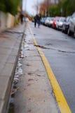 lensbaby линия отсутствие желтого цвета стоянкы автомобилей Стоковая Фотография