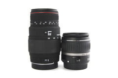 Lenses. Photo of a zoom and telephoto photography lenses on white background Royalty Free Stock Photos