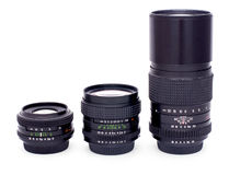 Lenses for 35-mm soviet retro photocamera Royalty Free Stock Photos