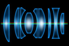 Lenses. The optical scheme of a camera lens Royalty Free Stock Image