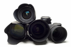 Lenses and accessories. Stock Photos