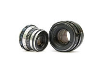 Lenses for analog cameras. Lenses for analog cameras close up on white background Stock Photo