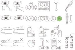 Lenses care icons royalty free illustration