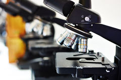 Lenses of different multiplicity of microscope Royalty Free Stock Photos
