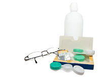 Lenses and glasses. Few things about eye care Stock Image