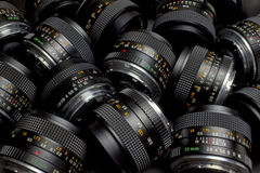 Lenses. A  large group of camera lenses Royalty Free Stock Photo