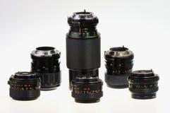 Lenses. Manual focus lenses for 135 format SLR camera Royalty Free Stock Image