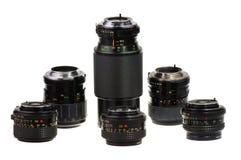 Lenses. Manual focus lenses for 135 format SLR camera - isolated Stock Images