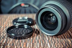 Lenses. A set of photographers. Protective glass.  Royalty Free Stock Photos