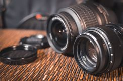 Lenses. A set of photographers. Protective glass.  Stock Photo