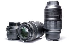 Lenses to a SLR camera close-up with reflection isolated Royalty Free Stock Images