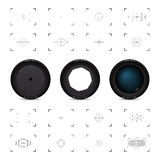 Lenses and viewfinders. Three lenses and sixteen different viewfinders Stock Image