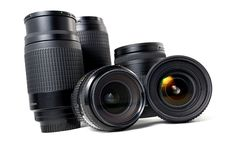 Lenses on white background Stock Photo