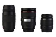 Lenses on white background Stock Photos
