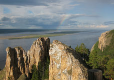 Lenskie Stolby National Nature Park in Lena river, wild mountain stock image