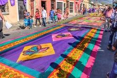 Lent地毯街道,安提瓜岛,危地马拉 免版税库存图片