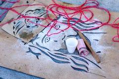 Lent队伍地毯钢板蜡纸特写镜头,安提瓜岛,危地马拉 免版税库存图片