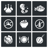 Lent celebration of Orthodox believers icons set. Vector Illustration. Royalty Free Stock Images