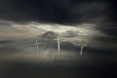 Lent Christ crosses. Against a sad dark background Royalty Free Stock Image