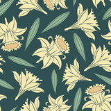 Lent lilies. On a dark blue background in seamless pattern vector illustration