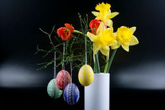 Lent lily, tulip and Easter egg Royalty Free Stock Image
