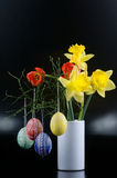 Lent lily, tulip and Easter egg Royalty Free Stock Photos