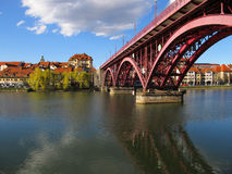 Lent And Old Bridge Maribor, Slovenien Arkivbilder