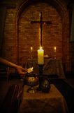 Lent. Sacred ceremony of Lent with ashes Stock Photos