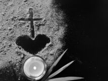 Free Lent Season,Holy Week And Good Friday Concepts - Image Of Ash In Heart And Cross Shape With Candle And Palm Leave Background Royalty Free Stock Photo - 168761565