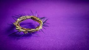 Free Lent Season, Holy Week And Good Friday Concepts - Image Of Crown Of Thorns In Purple Background Royalty Free Stock Photo - 174858155