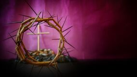 Free Lent Season,Holy Week And Good Friday Concepts - Image Of Crown Of Thorns In Purple Vintage Background Royalty Free Stock Photography - 172305657