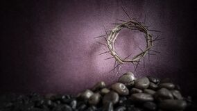Free Lent Season,Holy Week And Good Friday Concepts - Image Of Crown Of Thorns With Stones In Purple Vintage Background Royalty Free Stock Photo - 174138535
