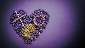 Free Lent Season,Holy Week And Good Friday Concepts - Image Of Wooden Cross, Crown Of Thorns And Palm Leave On Stones In Purple Vintage Royalty Free Stock Photography - 174062657