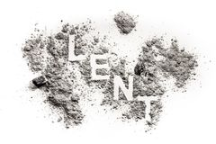 Lent word written in ash, sand, dust stock photography