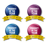 Lenta-bestprice. Set of colored labels `Product of the year 2017`. Round buttons with gold ribbons. Tags for online shops or ratings Royalty Free Stock Photos