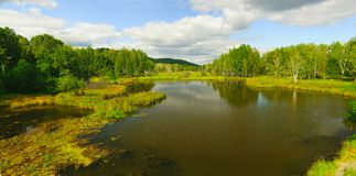 Lentamente il fiume corrente in autunno in anticipo Immagini Stock Libere da Diritti