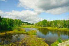 Lentamente il fiume corrente in autunno in anticipo Fotografia Stock Libera da Diritti