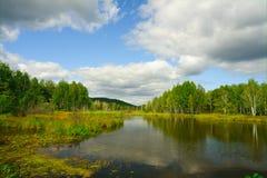 Lentamente il fiume corrente in autunno in anticipo Fotografie Stock